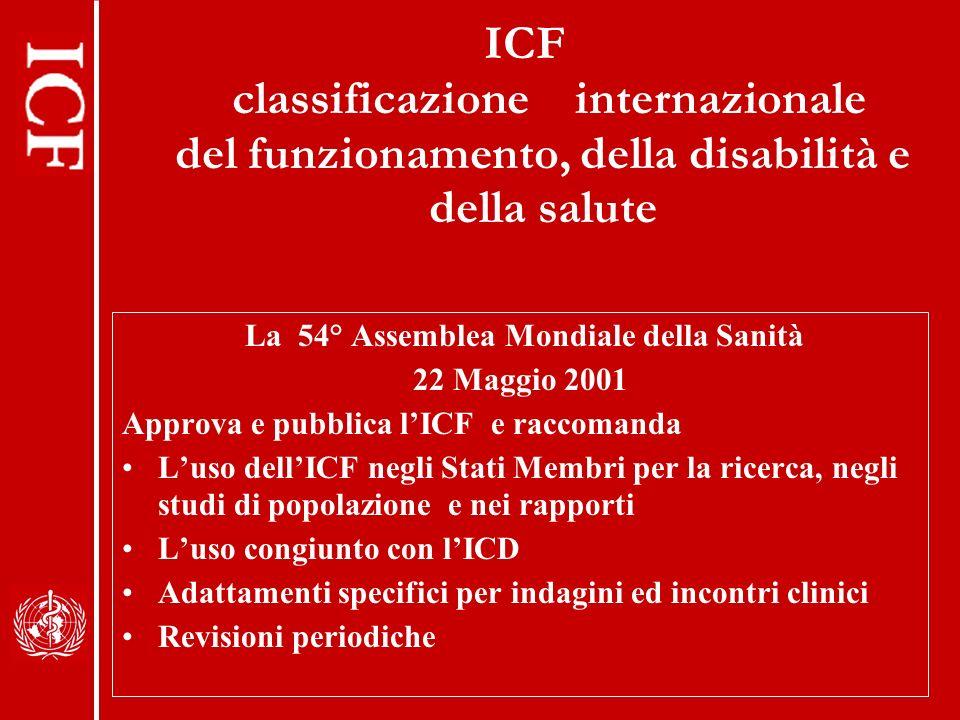 ICF classificazione internazionale del funzionamento, della disabilità e della salute La 54° Assemblea Mondiale della Sanità 22 Maggio 2001 Approva e