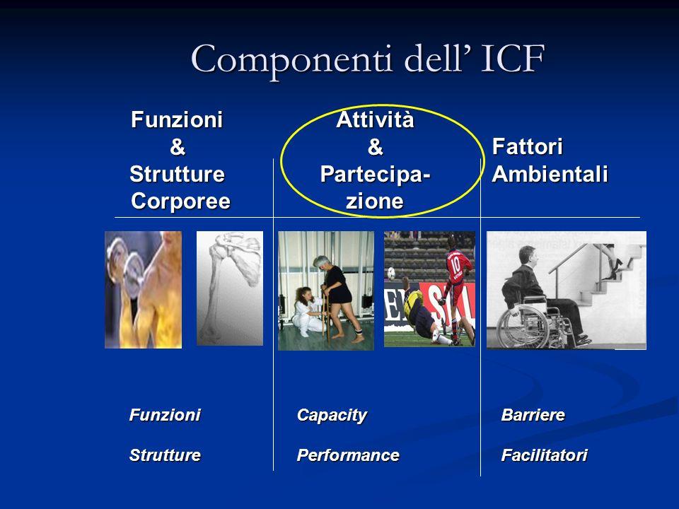 Componenti dell ICF Funzioni&Strutture Corporee CorporeeAttività&Partecipa-zione Fattori Ambientali BarriereFacilitatoriFunzioniStruttureCapacityPerfo