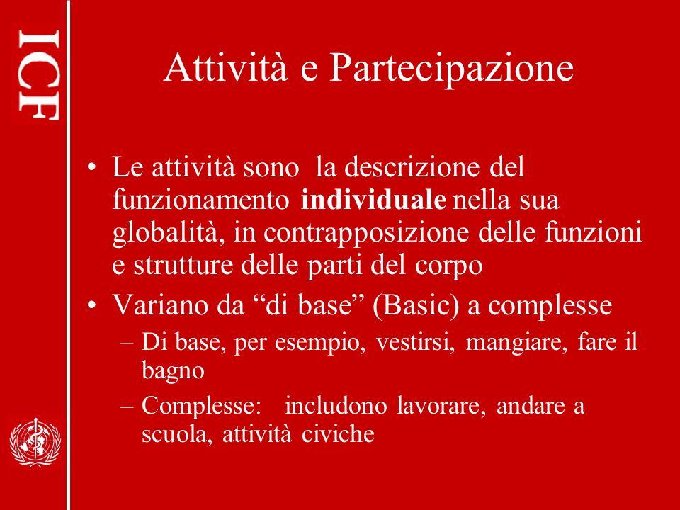 Attività e Partecipazione Le attività sono la descrizione del funzionamento individuale nella sua globalità, in contrapposizione delle funzioni e stru