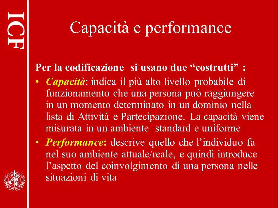 Capacità e performance Per la codificazione si usano due costrutti : Capacità: indica il più alto livello probabile di funzionamento che una persona può raggiungere in un momento determinato in un dominio nella lista di Attività e Partecipazione.