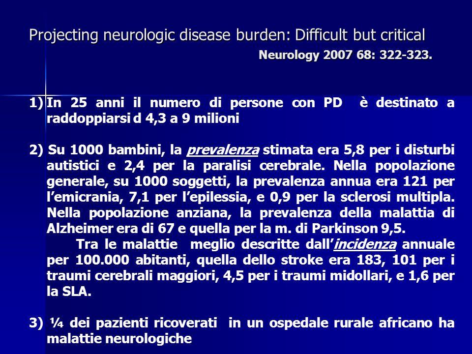 1)In 25 anni il numero di persone con PD è destinato a raddoppiarsi d 4,3 a 9 milioni 2) Su 1000 bambini, la prevalenza stimata era 5,8 per i disturbi autistici e 2,4 per la paralisi cerebrale.