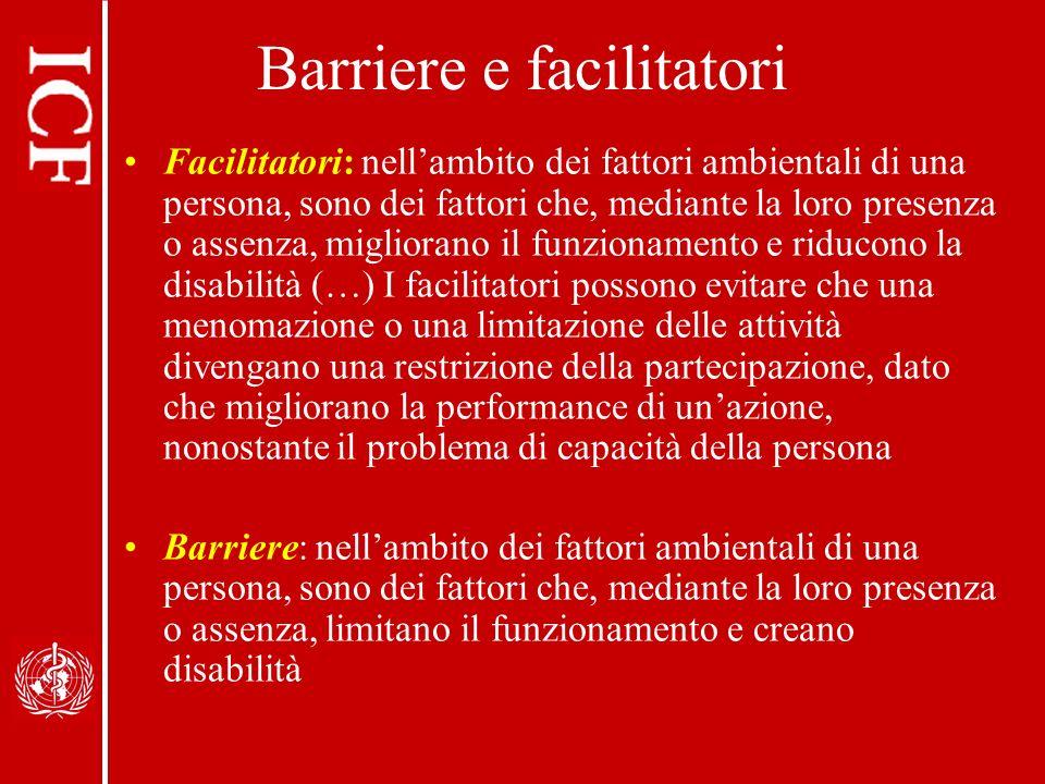 Barriere e facilitatori Facilitatori: nellambito dei fattori ambientali di una persona, sono dei fattori che, mediante la loro presenza o assenza, mig