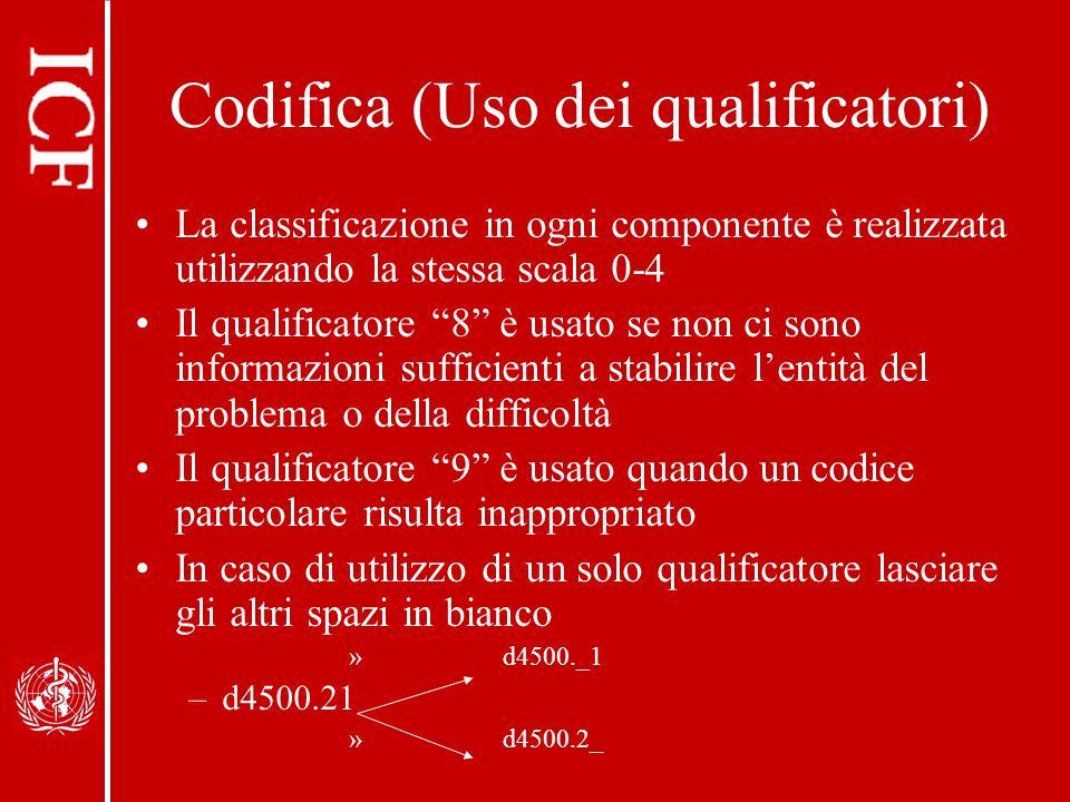Codifica (Uso dei qualificatori) La classificazione in ogni componente è realizzata utilizzando la stessa scala 0-4 Il qualificatore 8 è usato se non ci sono informazioni sufficienti a stabilire lentità del problema o della difficoltà Il qualificatore 9 è usato quando un codice particolare risulta inappropriato In caso di utilizzo di un solo qualificatore lasciare gli altri spazi in bianco » d4500._1 –d4500.21 » d4500.2_