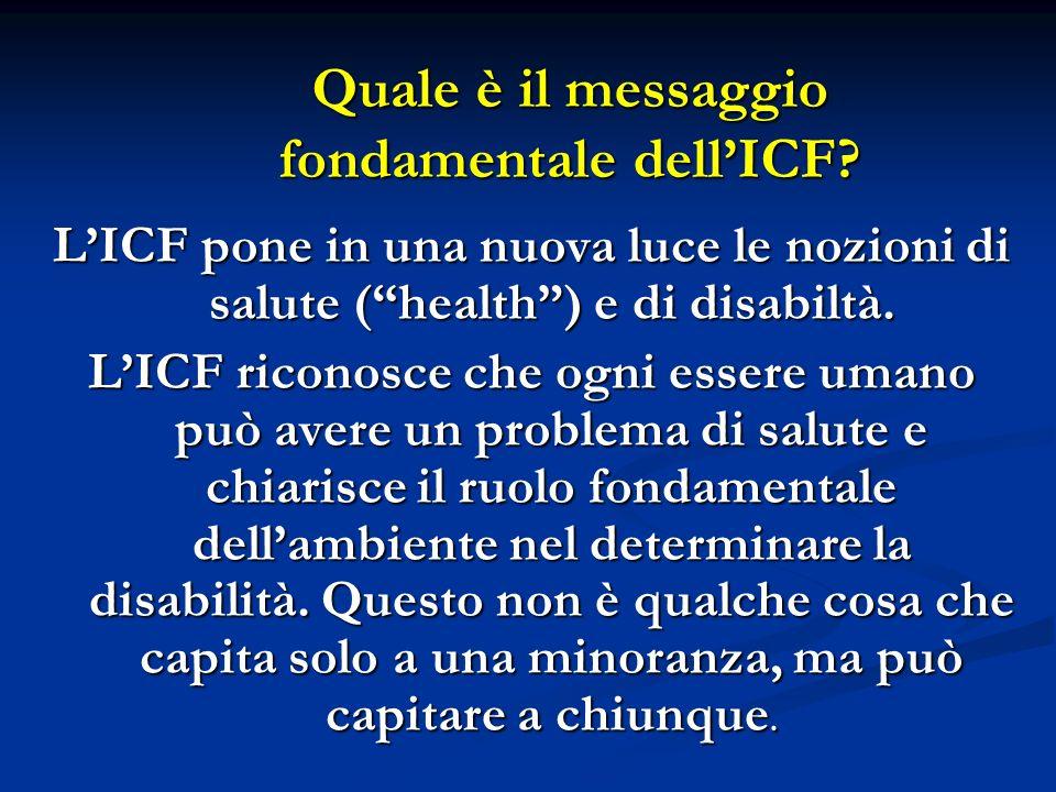 Quale è il messaggio fondamentale dellICF.