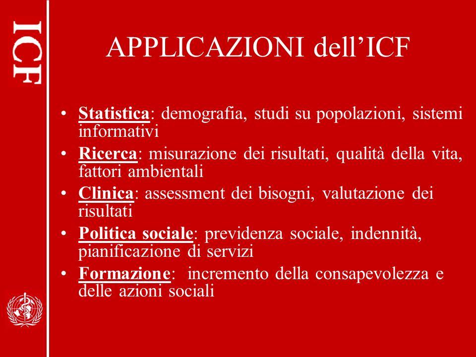 APPLICAZIONI dellICF Statistica: demografia, studi su popolazioni, sistemi informativi Ricerca: misurazione dei risultati, qualità della vita, fattori