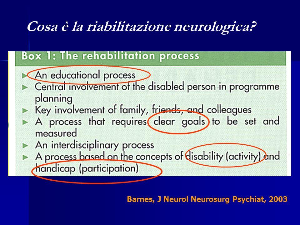 Barnes, J Neurol Neurosurg Psychiat, 2003 Cosa è la riabilitazione neurologica?
