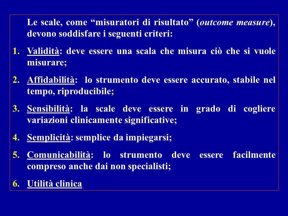 Le scale, come misuratori di risultato (outcome measure), devono soddisfare i seguenti criteri: 1.Validità: deve essere una scala che misura ciò che s