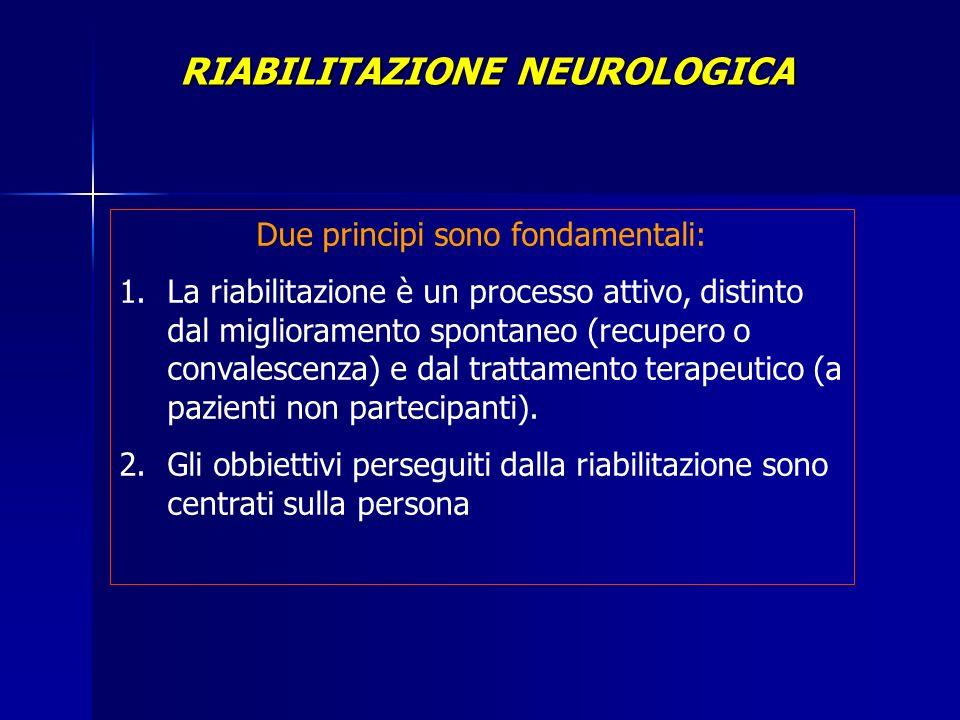 Due principi sono fondamentali: 1.La riabilitazione è un processo attivo, distinto dal miglioramento spontaneo (recupero o convalescenza) e dal tratta