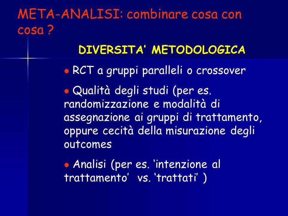 DIVERSITA METODOLOGICA RCT a gruppi paralleli o crossover Qualità degli studi (per es. randomizzazione e modalità di assegnazione ai gruppi di trattam