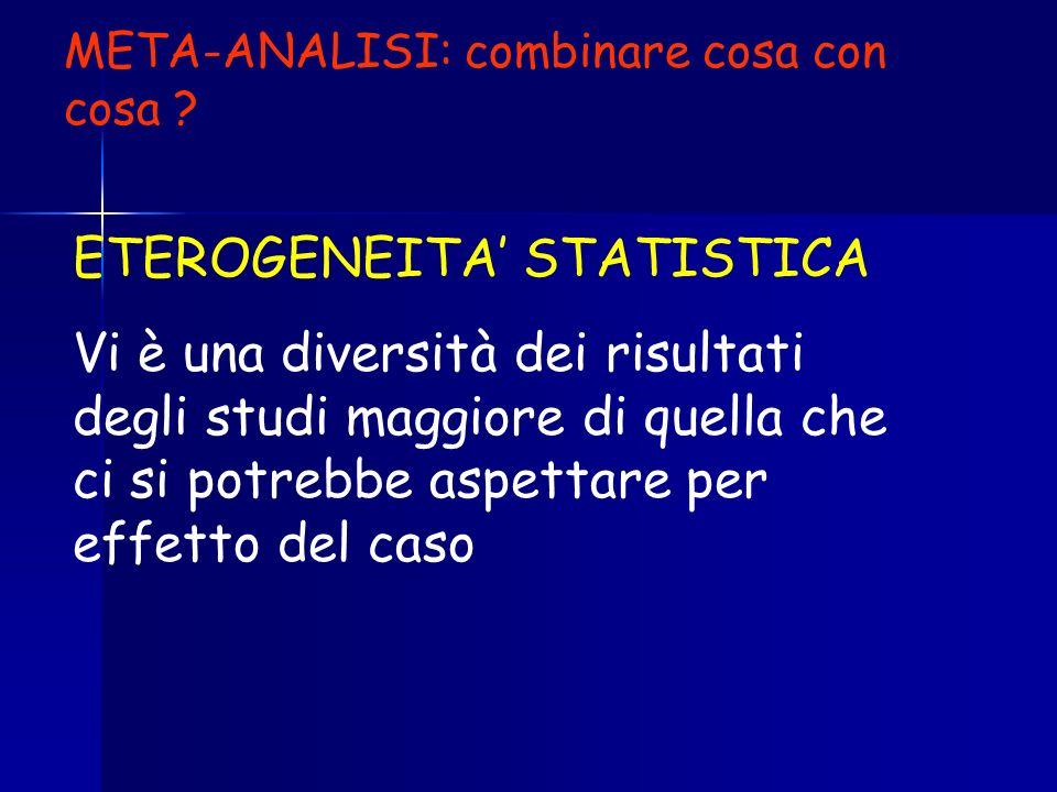 ETEROGENEITA STATISTICA Vi è una diversità dei risultati degli studi maggiore di quella che ci si potrebbe aspettare per effetto del caso META-ANALISI