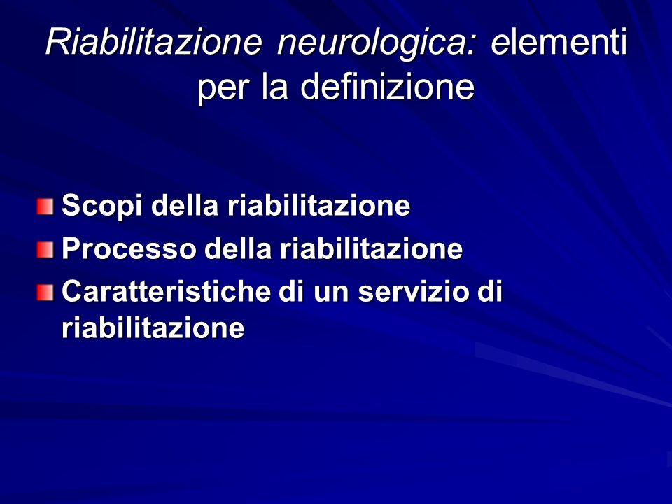 Riabilitazione neurologica: elementi per la definizione Scopi della riabilitazione Processo della riabilitazione Caratteristiche di un servizio di ria