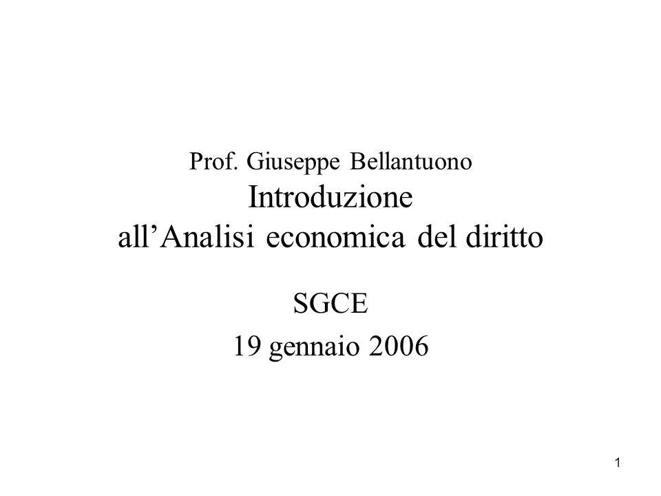 1 Prof. Giuseppe Bellantuono Introduzione allAnalisi economica del diritto SGCE 19 gennaio 2006