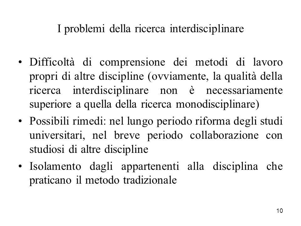 10 I problemi della ricerca interdisciplinare Difficoltà di comprensione dei metodi di lavoro propri di altre discipline (ovviamente, la qualità della