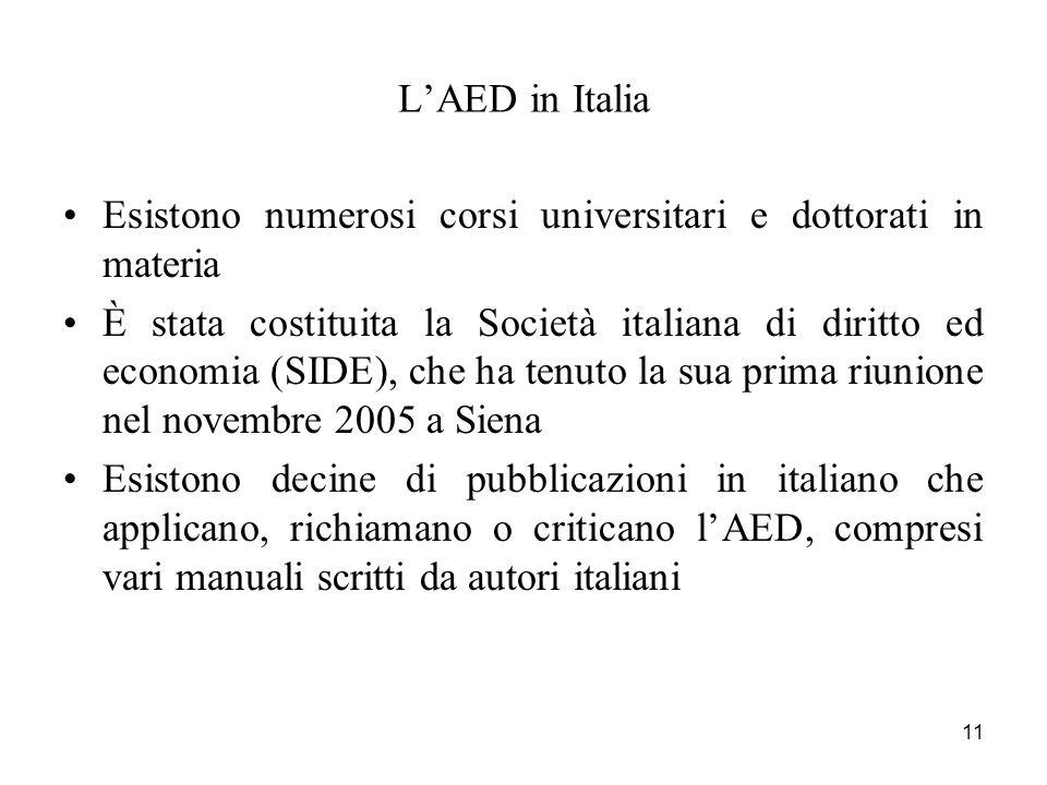 11 LAED in Italia Esistono numerosi corsi universitari e dottorati in materia È stata costituita la Società italiana di diritto ed economia (SIDE), ch