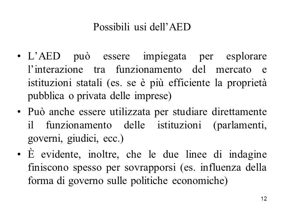 12 Possibili usi dellAED LAED può essere impiegata per esplorare linterazione tra funzionamento del mercato e istituzioni statali (es. se è più effici