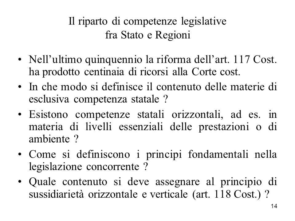 14 Il riparto di competenze legislative fra Stato e Regioni Nellultimo quinquennio la riforma dellart. 117 Cost. ha prodotto centinaia di ricorsi alla