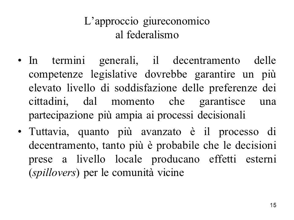 15 Lapproccio giureconomico al federalismo In termini generali, il decentramento delle competenze legislative dovrebbe garantire un più elevato livell