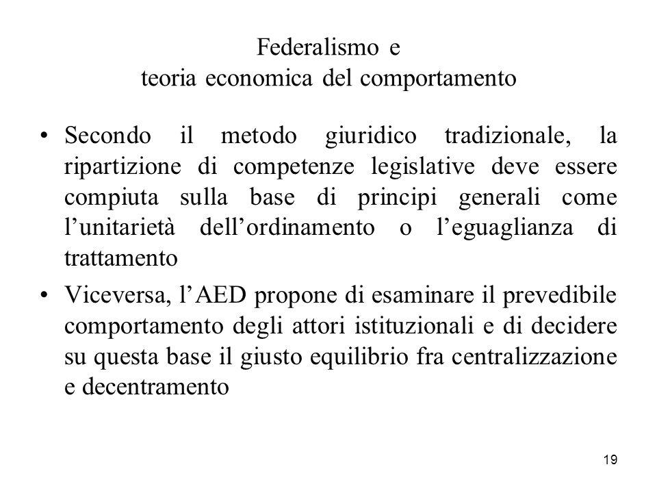 19 Federalismo e teoria economica del comportamento Secondo il metodo giuridico tradizionale, la ripartizione di competenze legislative deve essere co
