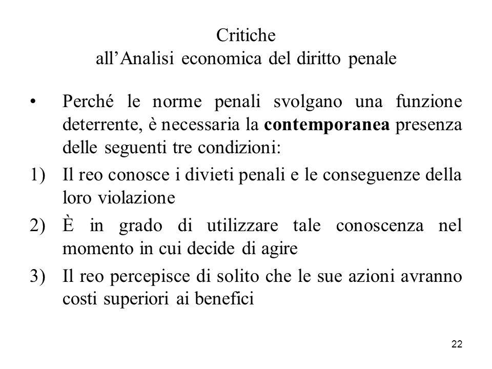 22 Critiche allAnalisi economica del diritto penale Perché le norme penali svolgano una funzione deterrente, è necessaria la contemporanea presenza de