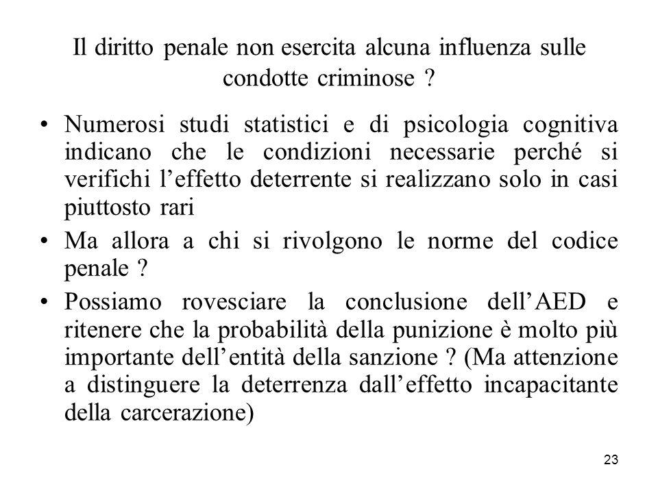 23 Il diritto penale non esercita alcuna influenza sulle condotte criminose ? Numerosi studi statistici e di psicologia cognitiva indicano che le cond