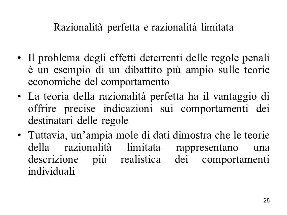 25 Razionalità perfetta e razionalità limitata Il problema degli effetti deterrenti delle regole penali è un esempio di un dibattito più ampio sulle t
