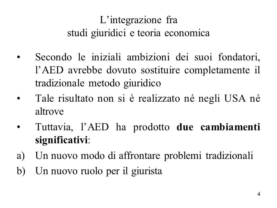 4 Lintegrazione fra studi giuridici e teoria economica Secondo le iniziali ambizioni dei suoi fondatori, lAED avrebbe dovuto sostituire completamente