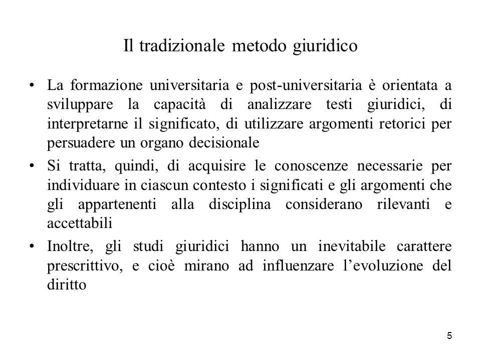5 Il tradizionale metodo giuridico La formazione universitaria e post-universitaria è orientata a sviluppare la capacità di analizzare testi giuridici