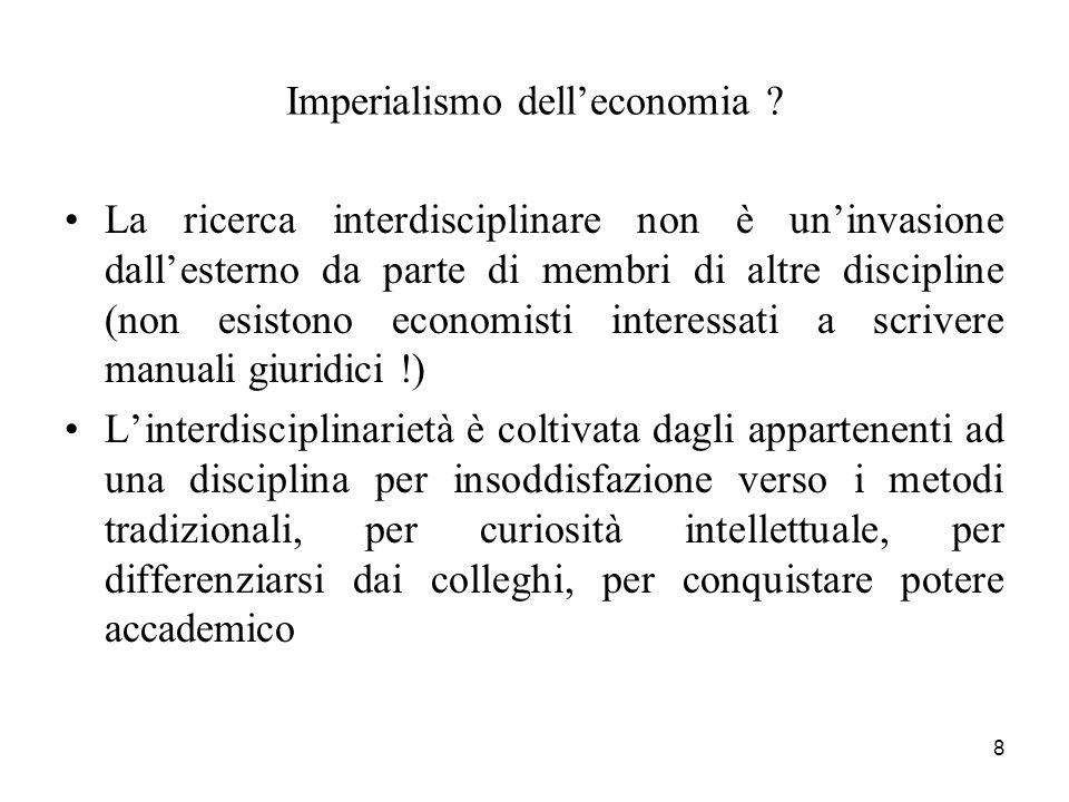 8 Imperialismo delleconomia ? La ricerca interdisciplinare non è uninvasione dallesterno da parte di membri di altre discipline (non esistono economis