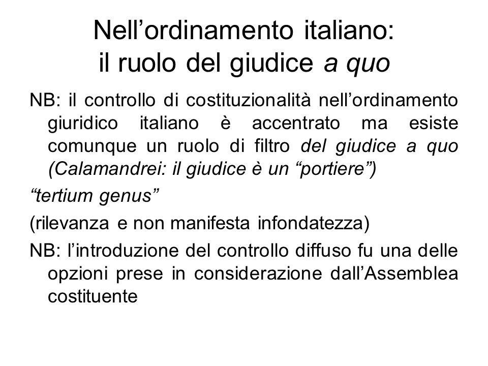 Nellordinamento italiano: il ruolo del giudice a quo NB: il controllo di costituzionalità nellordinamento giuridico italiano è accentrato ma esiste co