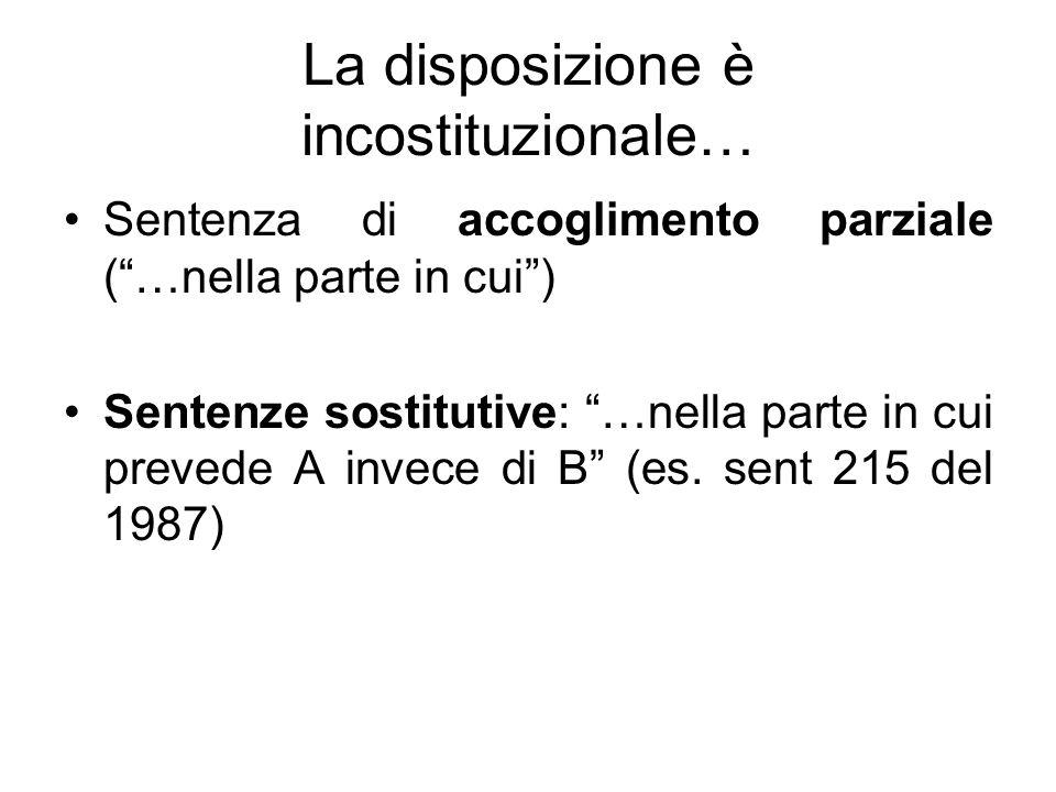 La disposizione è incostituzionale… Sentenza di accoglimento parziale (…nella parte in cui) Sentenze sostitutive: …nella parte in cui prevede A invece