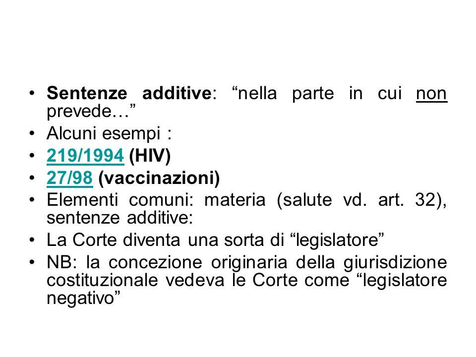 Sentenze additive: nella parte in cui non prevede… Alcuni esempi : 219/1994 (HIV)219/1994 27/98 (vaccinazioni)27/98 Elementi comuni: materia (salute v