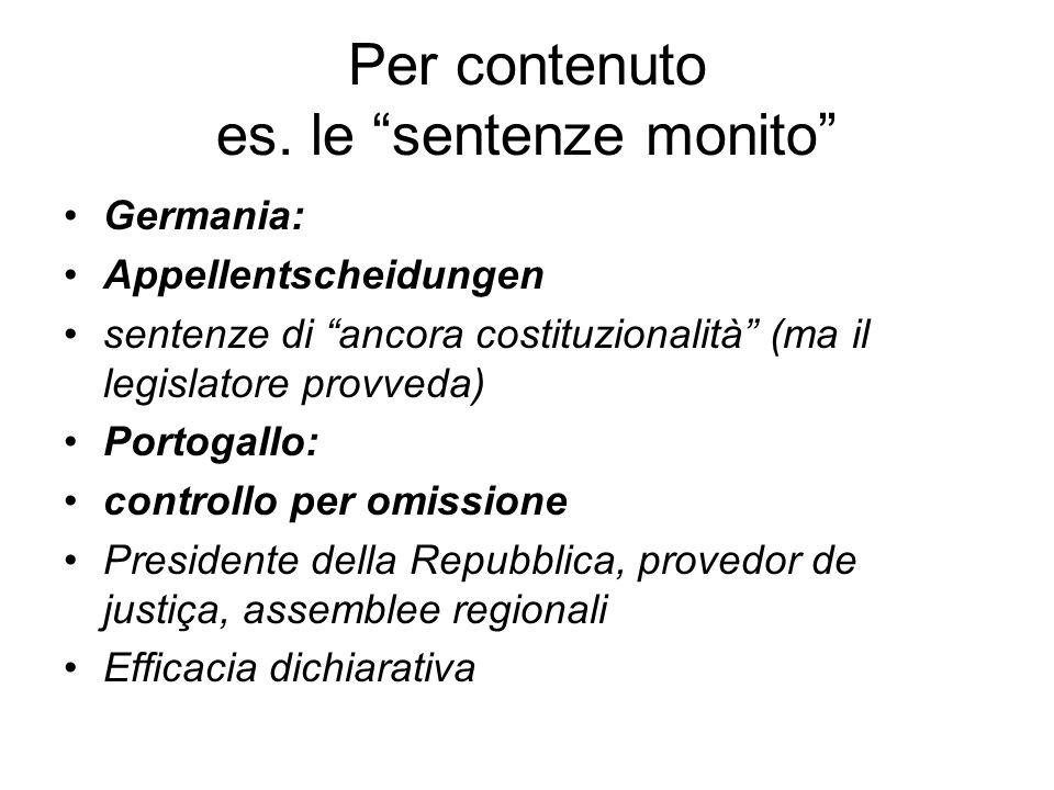 Per contenuto es. le sentenze monito Germania: Appellentscheidungen sentenze di ancora costituzionalità (ma il legislatore provveda) Portogallo: contr