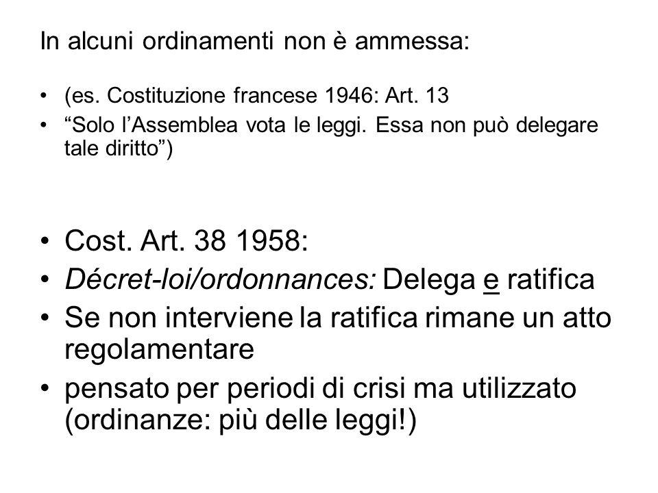 In alcuni ordinamenti non è ammessa: (es. Costituzione francese 1946: Art. 13 Solo lAssemblea vota le leggi. Essa non può delegare tale diritto) Cost.