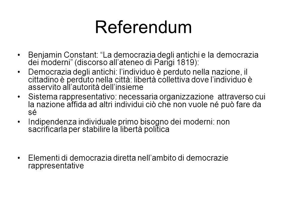 Istituti di democrazia diretta Realtà territorialmente limitate (es.