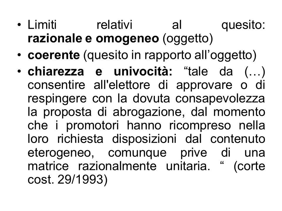 Limiti relativi al quesito: razionale e omogeneo (oggetto) coerente (quesito in rapporto alloggetto) chiarezza e univocità: tale da (…) consentire all