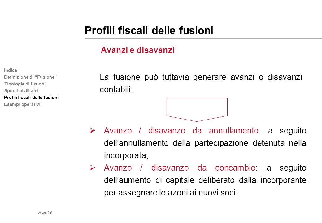 Slide 19 Indice Definizione di Fusione Tipologie di fusioni Spunti civilistici Profili fiscali delle fusioni Esempi operativi Profili fiscali delle fu