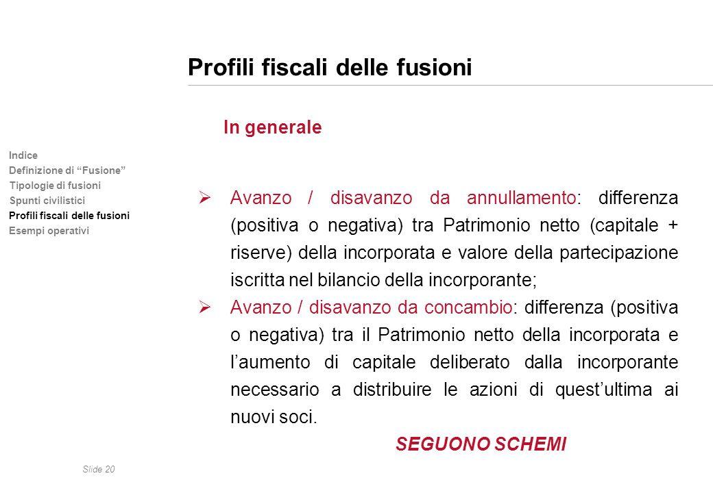 Slide 20 Indice Definizione di Fusione Tipologie di fusioni Spunti civilistici Profili fiscali delle fusioni Esempi operativi Profili fiscali delle fu