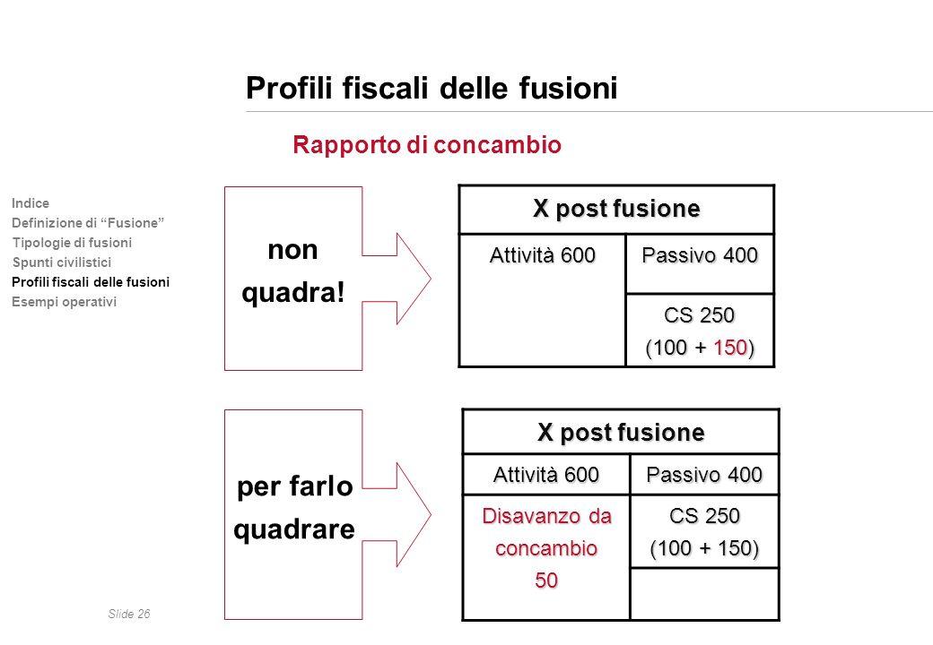 Slide 26 Indice Definizione di Fusione Tipologie di fusioni Spunti civilistici Profili fiscali delle fusioni Esempi operativi Profili fiscali delle fu