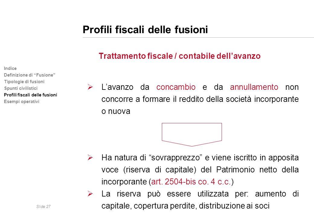 Slide 27 Indice Definizione di Fusione Tipologie di fusioni Spunti civilistici Profili fiscali delle fusioni Esempi operativi Profili fiscali delle fu