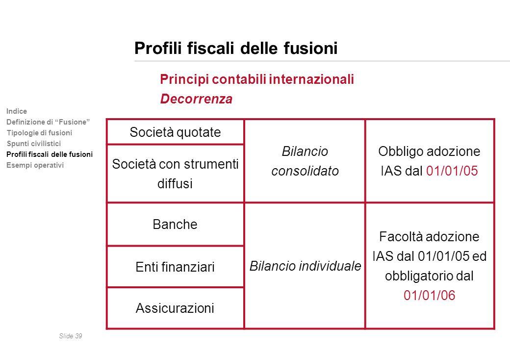 Slide 39 Indice Definizione di Fusione Tipologie di fusioni Spunti civilistici Profili fiscali delle fusioni Esempi operativi Profili fiscali delle fu