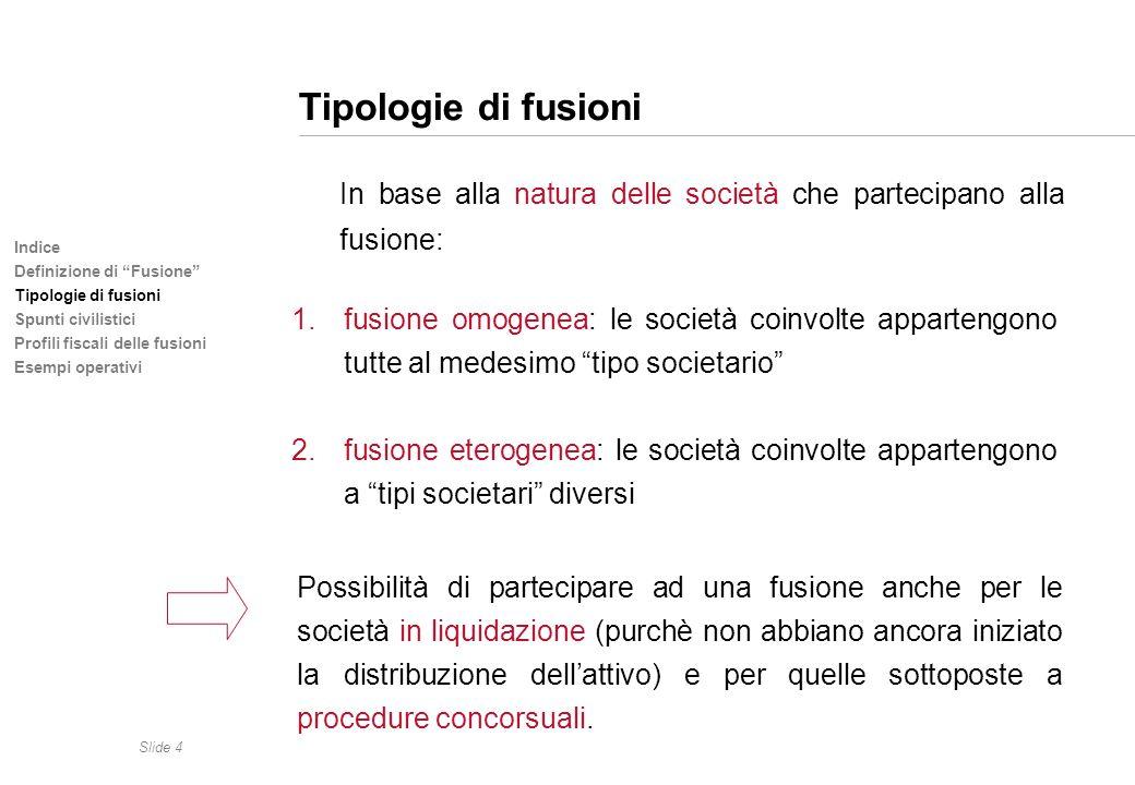 Slide 4 Indice Definizione di Fusione Tipologie di fusioni Spunti civilistici Profili fiscali delle fusioni Esempi operativi Tipologie di fusioni In b