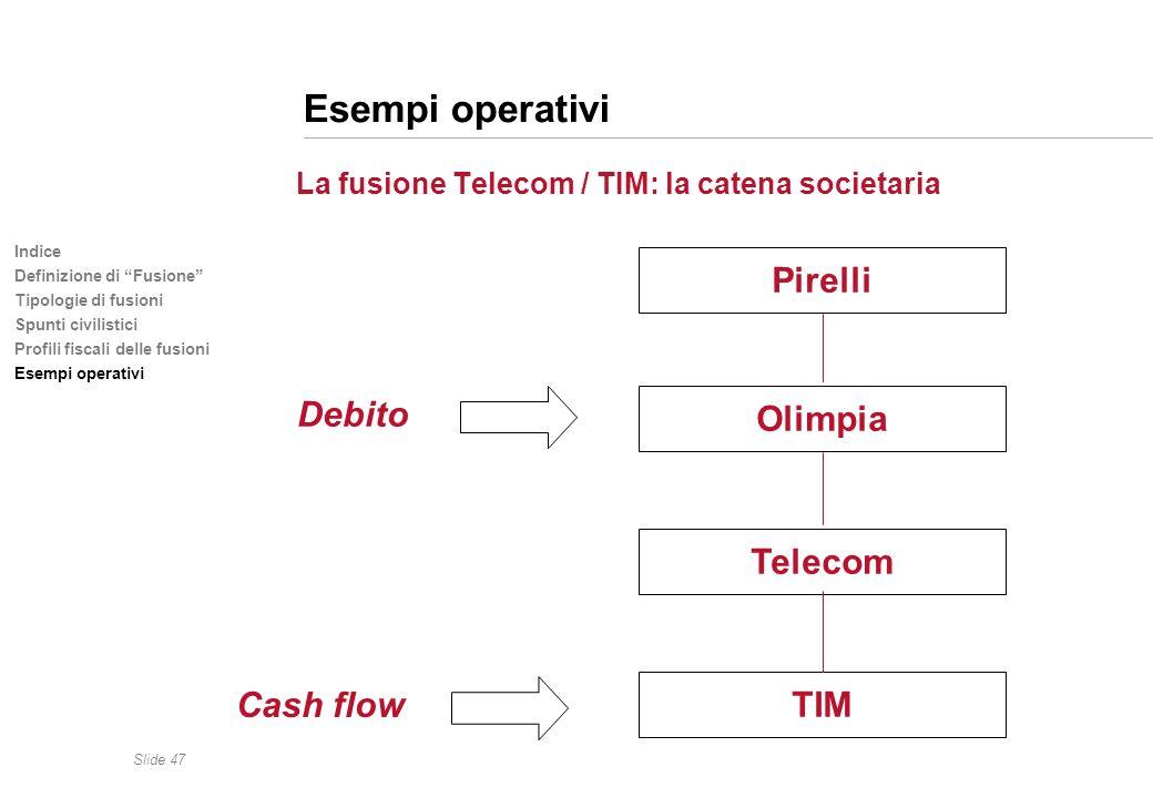 Slide 47 Indice Definizione di Fusione Tipologie di fusioni Spunti civilistici Profili fiscali delle fusioni Esempi operativi La fusione Telecom / TIM