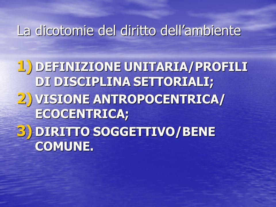 La dicotomie del diritto dellambiente 1) DEFINIZIONE UNITARIA/PROFILI DI DISCIPLINA SETTORIALI; 2) VISIONE ANTROPOCENTRICA/ ECOCENTRICA; 3) DIRITTO SO