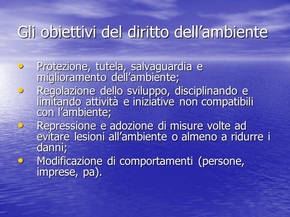 Gli obiettivi del diritto dellambiente Protezione, tutela, salvaguardia e miglioramento dellambiente; Protezione, tutela, salvaguardia e miglioramento
