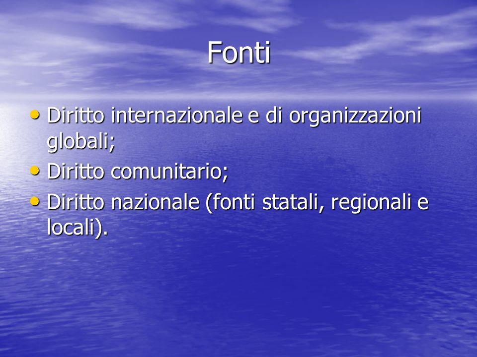 Fonti Diritto internazionale e di organizzazioni globali; Diritto internazionale e di organizzazioni globali; Diritto comunitario; Diritto comunitario