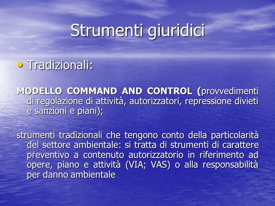 Strumenti giuridici Tradizionali: Tradizionali: MODELLO COMMAND AND CONTROL (provvedimenti di regolazione di attività, autorizzatori, repressione divi