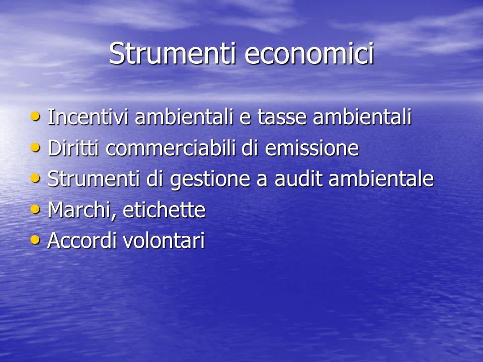 Strumenti economici Incentivi ambientali e tasse ambientali Incentivi ambientali e tasse ambientali Diritti commerciabili di emissione Diritti commerc