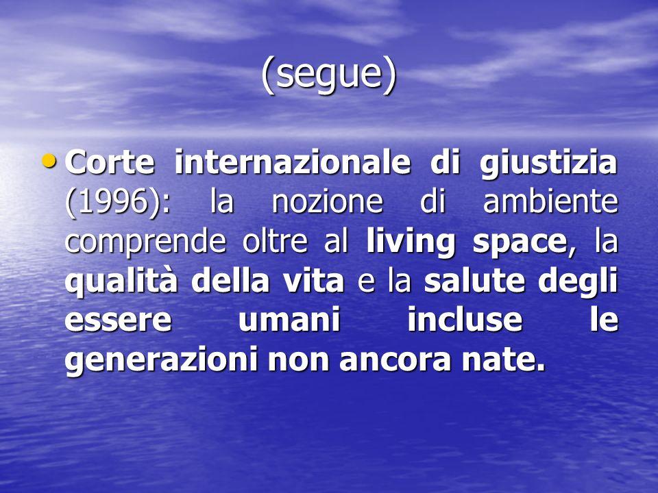 (segue) Corte internazionale di giustizia (1996): la nozione di ambiente comprende oltre al living space, la qualità della vita e la salute degli esse