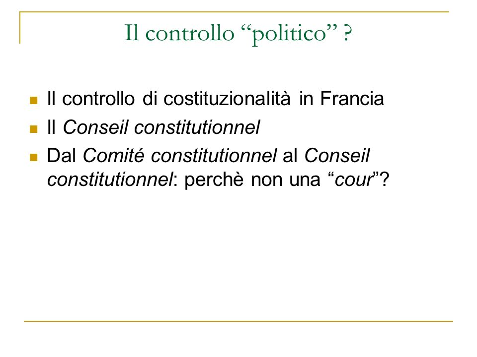 Il controllo politico .