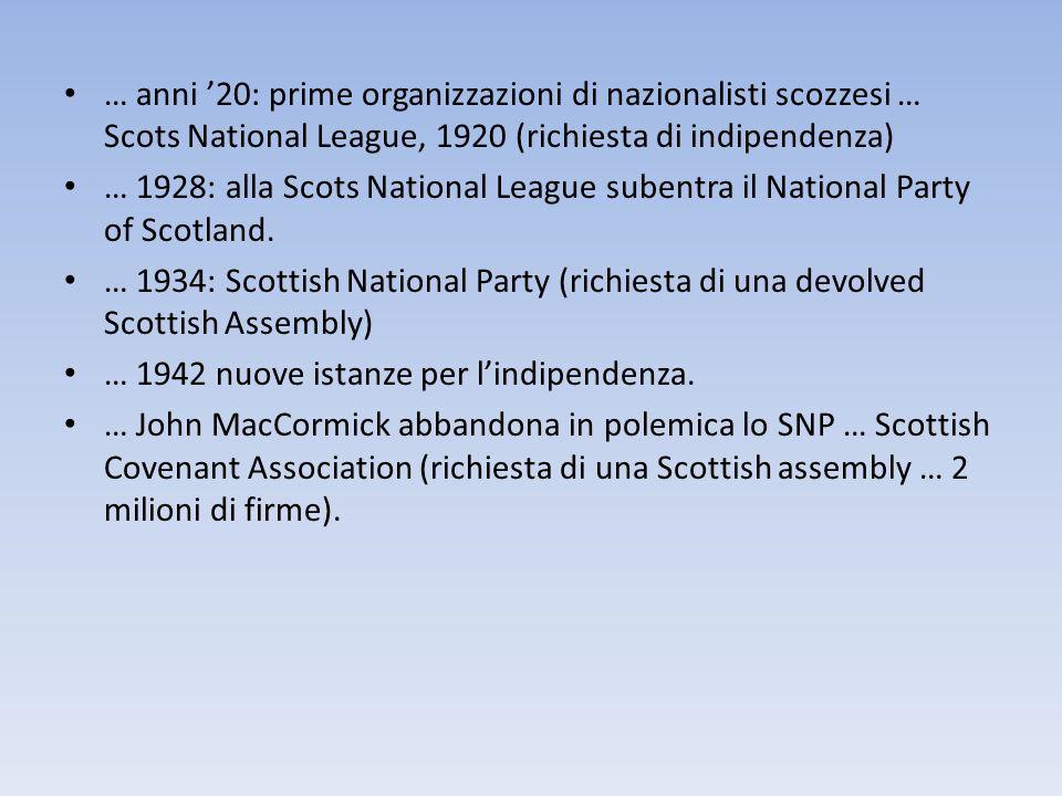 … anni 20: prime organizzazioni di nazionalisti scozzesi … Scots National League, 1920 (richiesta di indipendenza) … 1928: alla Scots National League